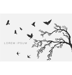 Flying birds on tree branch vector