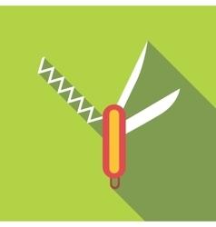 Folding knife icon flat style vector image