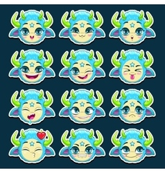 Funny cartoon blue monster emotions set vector