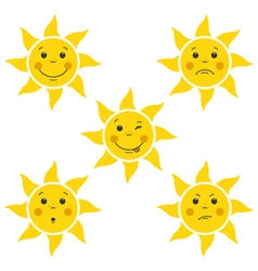 Funny Cartoon Sun Little Faces vector