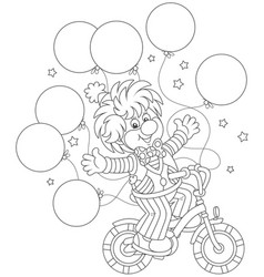Funny clown riding his bicycle vector