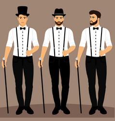 Gentleman groom clothing collection vector