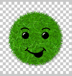 green grass face smile smiley grassy icon vector image