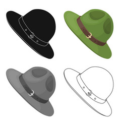 green hat of a canadian ranger canada single icon vector image