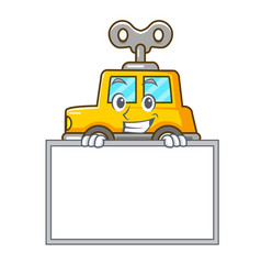 Grinning with board character clockwork car for vector