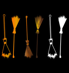 Halloween witches broomstick vector