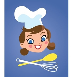 Happy chef woman with kitchen tools vector