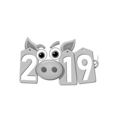 Happy new year background pig face silver sale vector