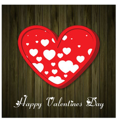happy valentines day typographic with red hearts vector image