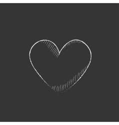Heart sign Drawn in chalk icon vector