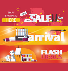 horizontal banners sale and new arrival flash vector image