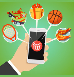 human hand smart phone shop basket goods icon vector image