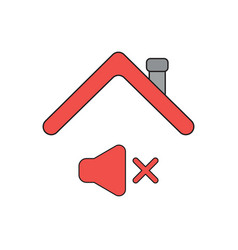 Icon concept sound off symbol under roof vector