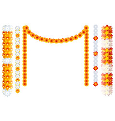 indian orange flower garland mala frame isolated vector image