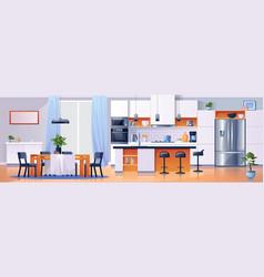 kitchen interior background modern home furniture vector image