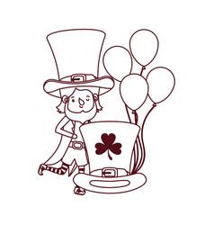 leprechaun with helium balloon character vector image