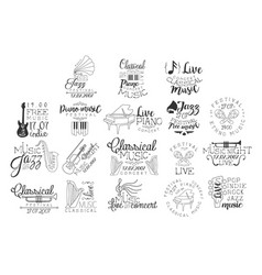 Live music hand drawn banner set vector