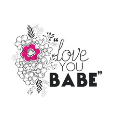 love message with hand made font vector image