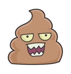 Mad angry poop cartoon character vector