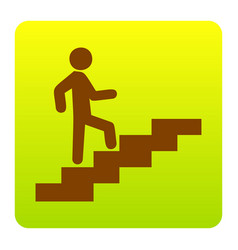 man on stairs going up brown icon at vector image