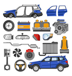 modern car in solid and disassembled form with all vector image