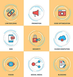 Modern Line Icons Set Security Search Engine vector