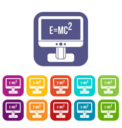 monitor with einstein formula icons set vector image