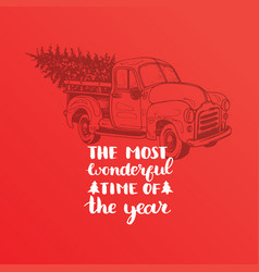 Most wonderful time in year lettering on vector