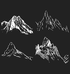 Mountains drawing Stone sketch outline vector