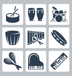 musical istruments drums and keyboards vector image