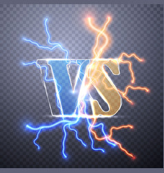 neon versus logo vs letters competition icon vector image