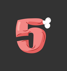 Number 5 meat pork and bone font five ham vector