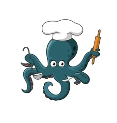Octopus chef in white cook hat cartoon character vector