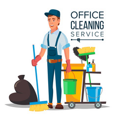 office cleaner cleaner and cleaning vector image