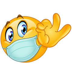 ok sign emoticon with medical mask vector image