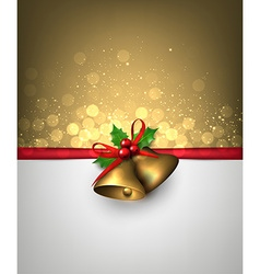 Paper card with golden christmas bells vector