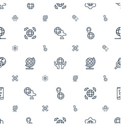 planet icons pattern seamless white background vector image