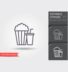popcorn and soda line icon with shadow and vector image