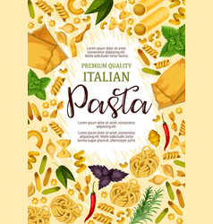 Premium pasta and italian cuisine food poster vector