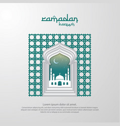 Ramadan kareem islamic greeting with mosque vector