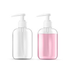 realistic liquid soap foam lotion bottle vector image
