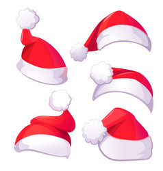 red santa claus hats for christmas or new year vector image