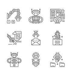 rpa linear icons set vector image
