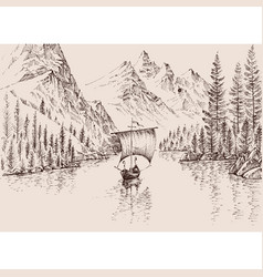 Sailboat on mountain river hand drawing vector