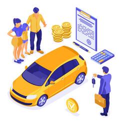 sale insurance rental sharing car isometric vector image