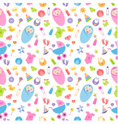 seamless pattern with bagirl and boy elements vector image