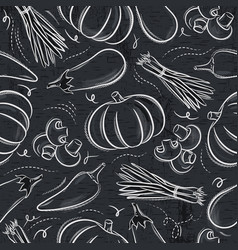 Seamless patterns with vegetable vector