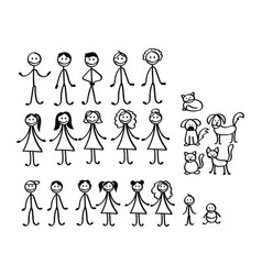 set happy cartoon doodle figure family stick vector image