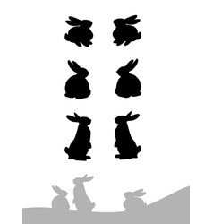 Set of silhouette of rabbit vector