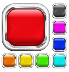 Set of square multicolored buttons vector image